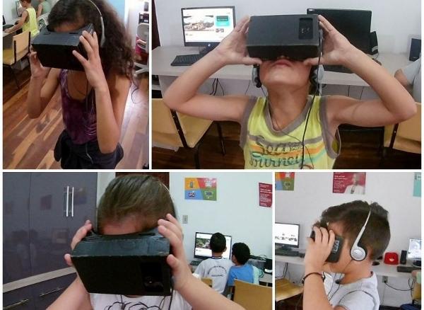 Alunos da ONG Puro Amor usando óculos VR